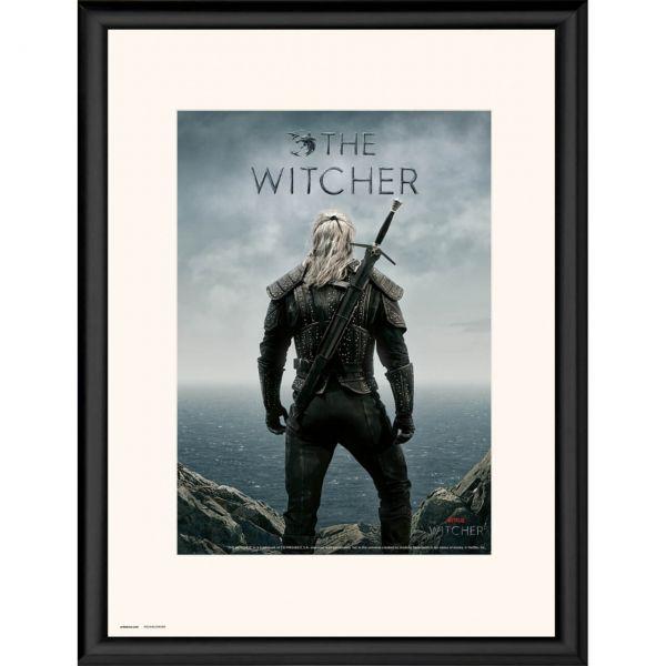 Der Hexer Geralt von Riva schwarz gerahmtes Bild The Witcher