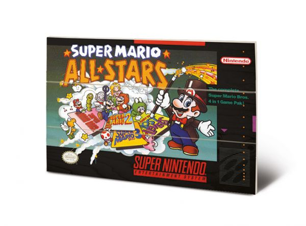 Super Nintendo (All Stars) Super Mario Bild auf Holz