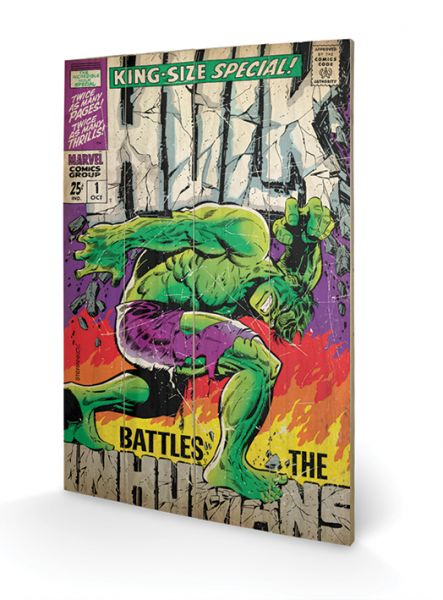 Hulk Comic Cover Holzbild Marvel