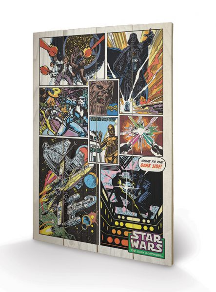Retro Comic Holzbild Star Wars