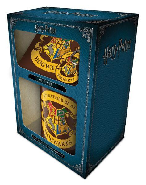 Harry Potter (Rather be at Hogwarts) Geschenk-Set, 3-teilig, Tasse+Untersetzer+Schlüsselanhänger