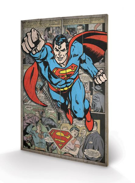 Superman Comic Montage Holzbild DC Comics