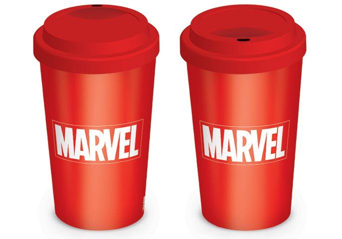 Marvel Logo weiß auf rot To-Go-Becher Marvel