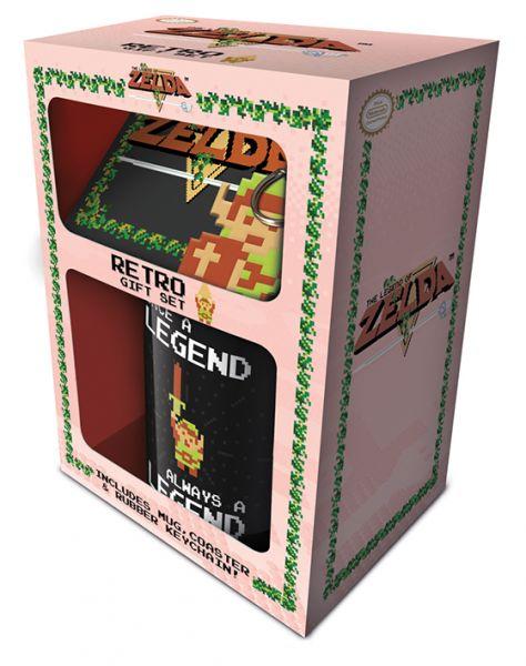 Zelda (Retro) Geschenk-Set, 3-teilig, Tasse+Untersetzer+Schlüsselanhänger