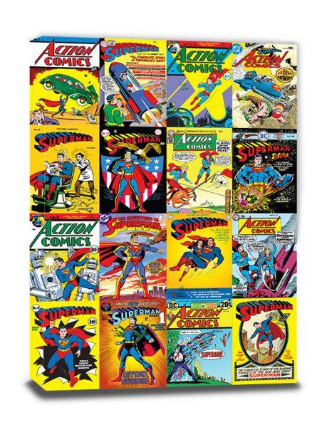 DC Comics: Superman (Comic Covers Montage), Leinwanddruck