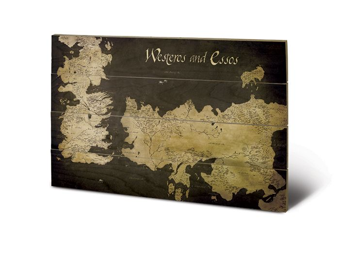 Westeros and Essos Antique Map Holzbild Game Of Thrones