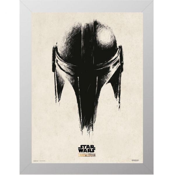 Mando Helm silber gerahmtes Bild MDF Star Wars