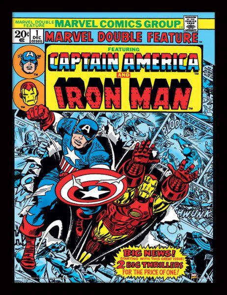 Marvel Comics (Captain America + Iron Man) Gerahmtes Poster