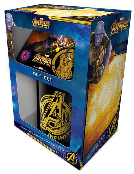 Avengers (Infinity War) Geschenk-Set, 3-teilig, Tasse+Untersetzer+Schlüsselanhänger