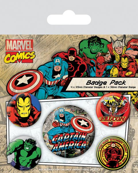 Charaktere Retro Button-Set 5-teilig Marvel