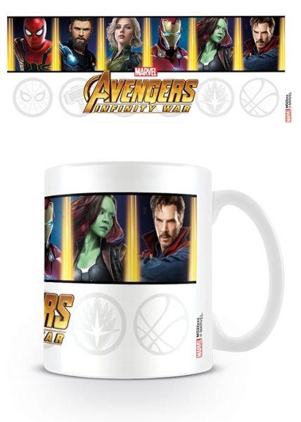 Charaktere und Emblem Avengers Infinity War Tasse Marvel