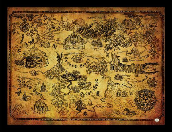 Hyrule Karte The Legend of Zelda gerahmtes Bild Nintendo