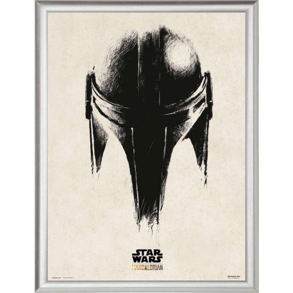 Mando Helm The Mandalorian silber gerahmtes Bild Star Wars