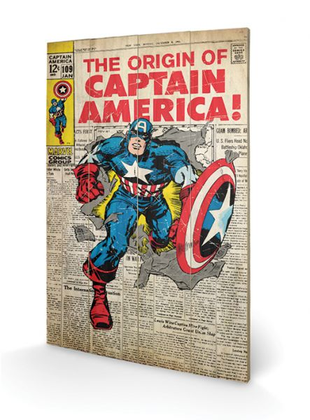 Captain America Comic Cover Holzbild Marvel