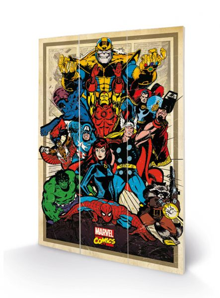 Marvel Comics Avengers (Retro) Bild auf Holz