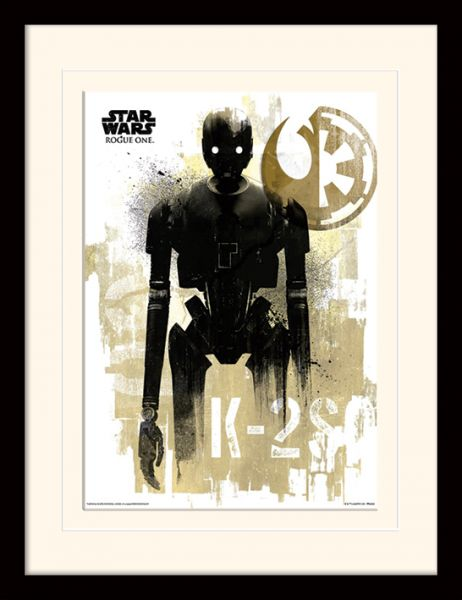 Star Wars: Rogue One, K-2SO Grunge, Gerahmt | Gerahmte Kunstdrucke ...