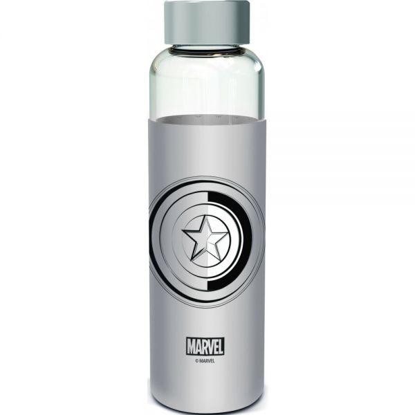 Captain America Logo Avengers Trinkflasche mit Silikonschutz Marvel