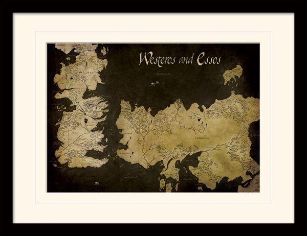 Game of Thrones: Westeros and Essos Antique Map, Gerahmt