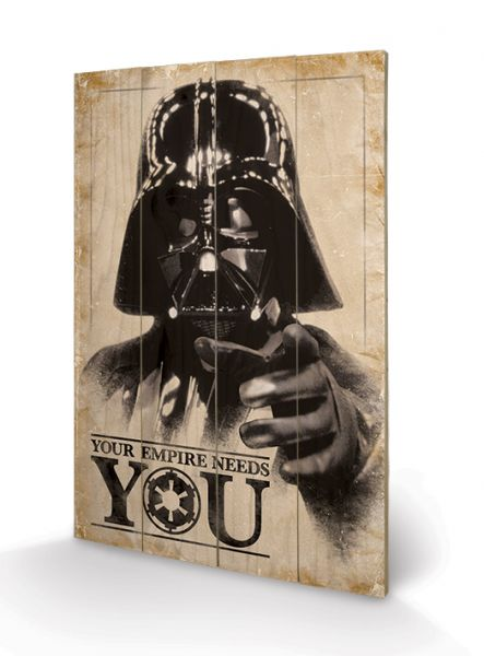 Darth Vader Your Empire Needs You Holzbild Star Wars
