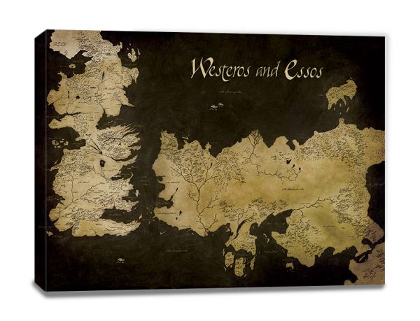 Westeros and Essos Antique Map Leinwandbild Game of Thrones