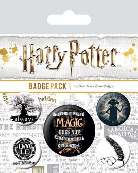 Symbole Magic Button-Set 5-teilig Harry Potter