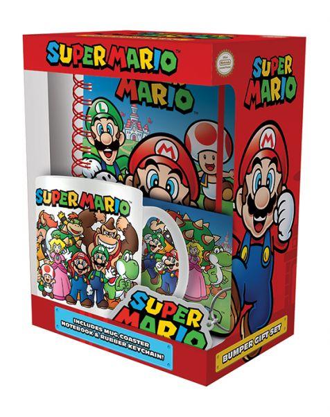 Super Mario Geschenk-Box Tasse Untersetzer Schlüsselanhänger A5 Notizbuch