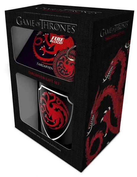 Game Of Thrones (Targaryen) Geschenk-Set, 3-teilig, Tasse+Untersetzer+Schlüsselanhänger
