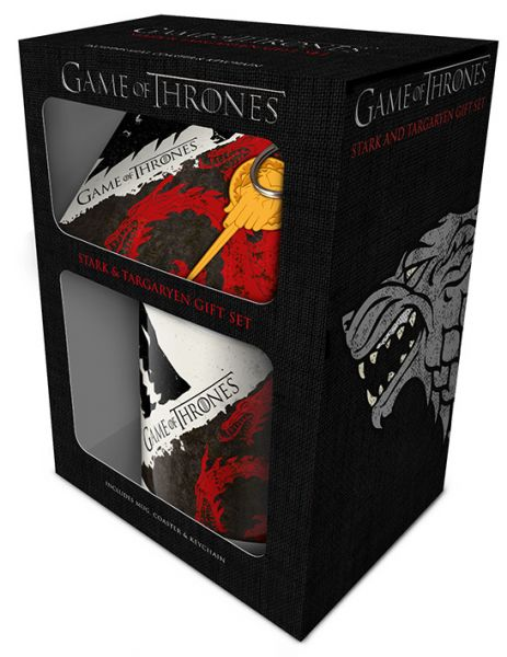 Game Of Thrones (Stark Targaryen) Geschenk-Set, 3-teilig, Tasse+Untersetzer+Schlüsselanhänger