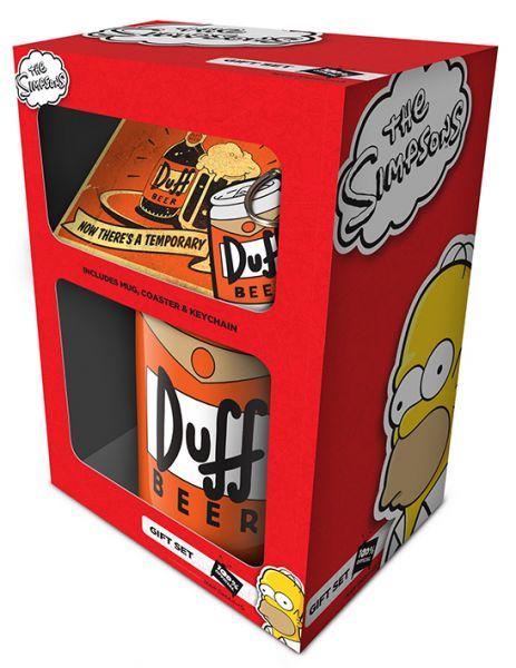 Simpsons (Duff) Geschenk-Set, 3-teilig, Tasse Untersetzer Schlüsselanhänger