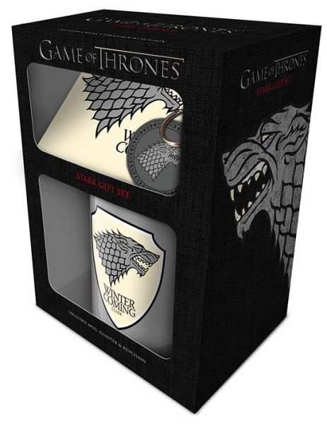 Game Of Thrones (Stark) Geschenk-Set, 3-teilig, Tasse+Untersetzer+Schlüsselanhänger