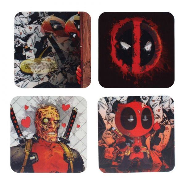 3D Deadpool Untersetzer 4er-Set Marvel