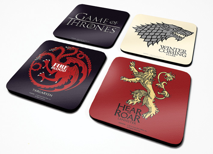 game of thrones untersetzer set 4 st ck accessoires. Black Bedroom Furniture Sets. Home Design Ideas