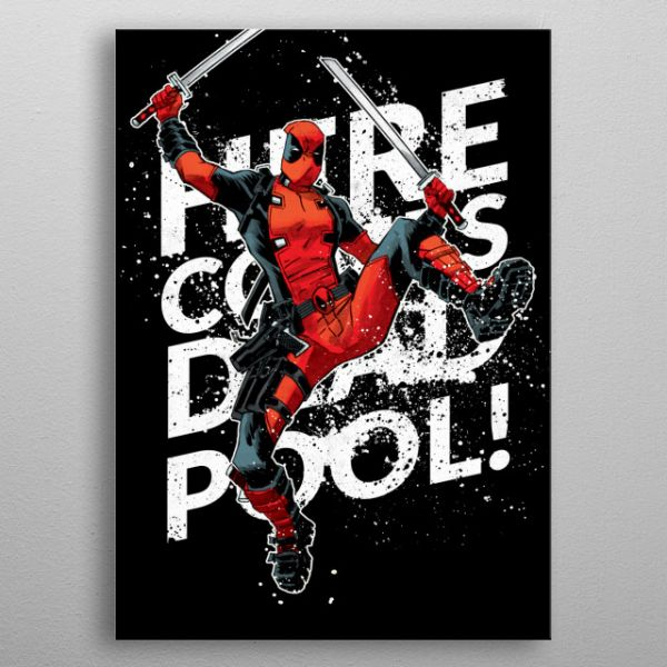 Here Comes Deadpool Metall Poster Marvel