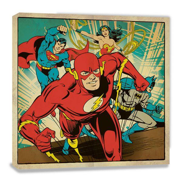 Superman, Wonder Woman, Flash und Batman Collage